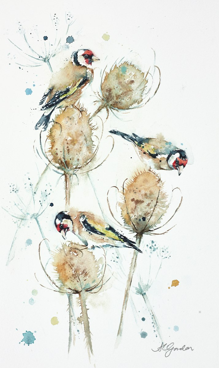 Teasels and Goldfinches by amanda gordon -  sized 9x15 inches. Available from Whitewall Galleries